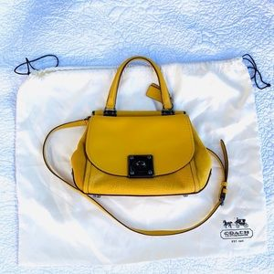 Coach Small Crossbody Yellow lambs leather Bag